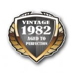 1982 Year Dated Vintage Shield Retro Vinyl Car Motorcycle Cafe Racer Helmet Car Sticker 100x90mm